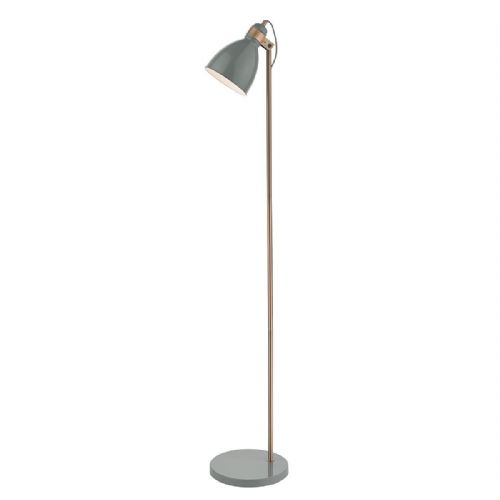 Frederick Floor Lamp Gloss Grey/Copper (Class 2 Double Insulated)